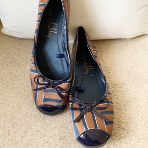 Sam & Libby Satin Brown & Navy Flats Size 11